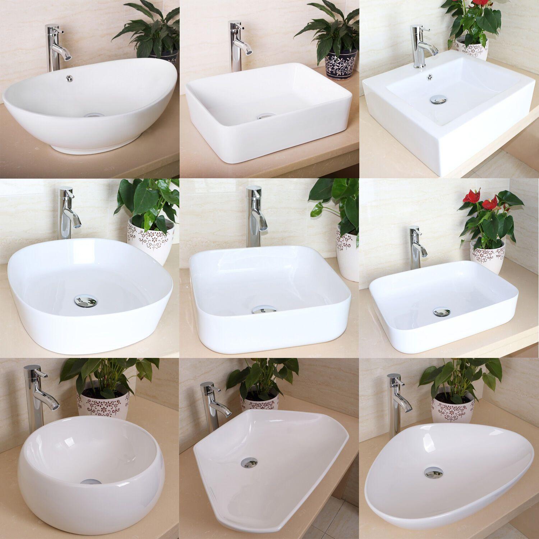 Bathroom Porcelain Ceramic Vessel Sink Basin Bowl Faucet Popup Drain Combo White Ebay In 2020 Bathroom Sink Bowls Vessel Sink Bathroom Interior Design
