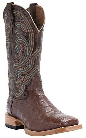 Ariat® Men's Stillwater Cinnamon Brown Caiman Belly Double Welt Square Toe  Western Exotic Boots |