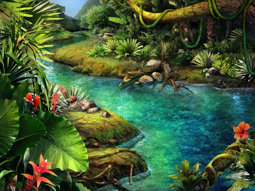Tropical waterfall at a river at a waterfall in for Fairy garden waterfall