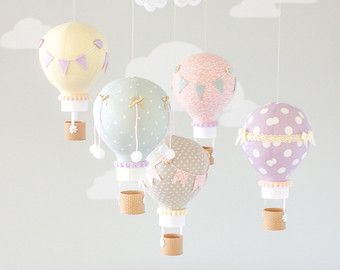 Hot Air Balloon Baby Mobile Travel Theme Nursery Decor Ceiling I204