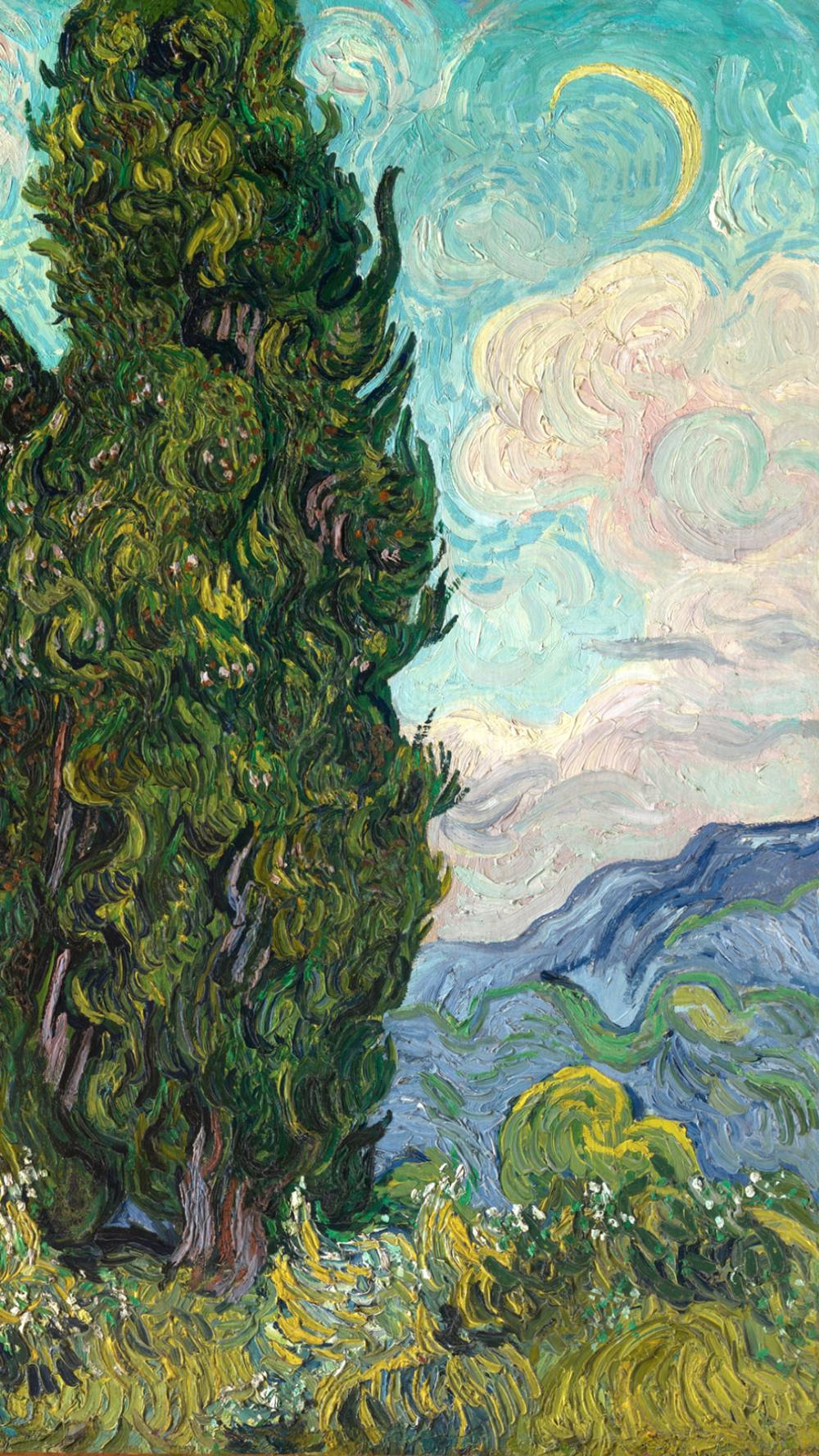 フィンセント・ファン・ゴッホ / Cypresses カラフルな絵, 印象派絵画, ゴッホ 絵画