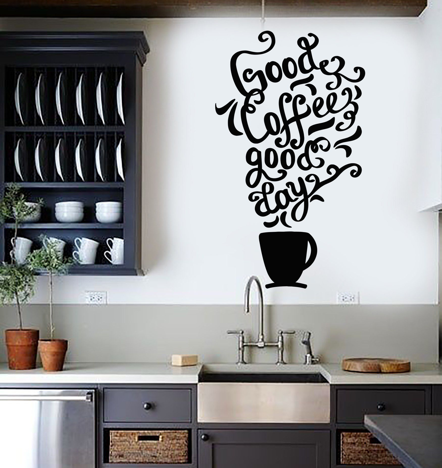 Vinyl wall decal quote coffee kitchen shop restaurant cafe for What kind of paint to use on kitchen cabinets for wall art poems