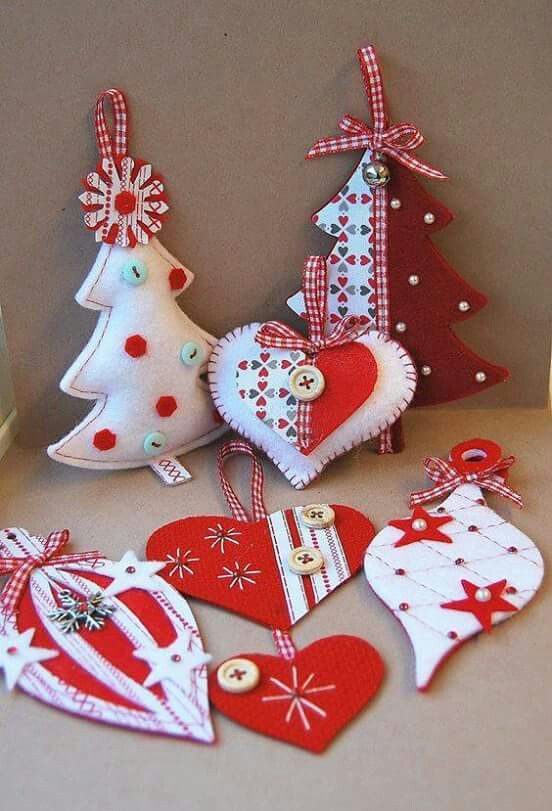 Red & White Felt Christmas Ornaments