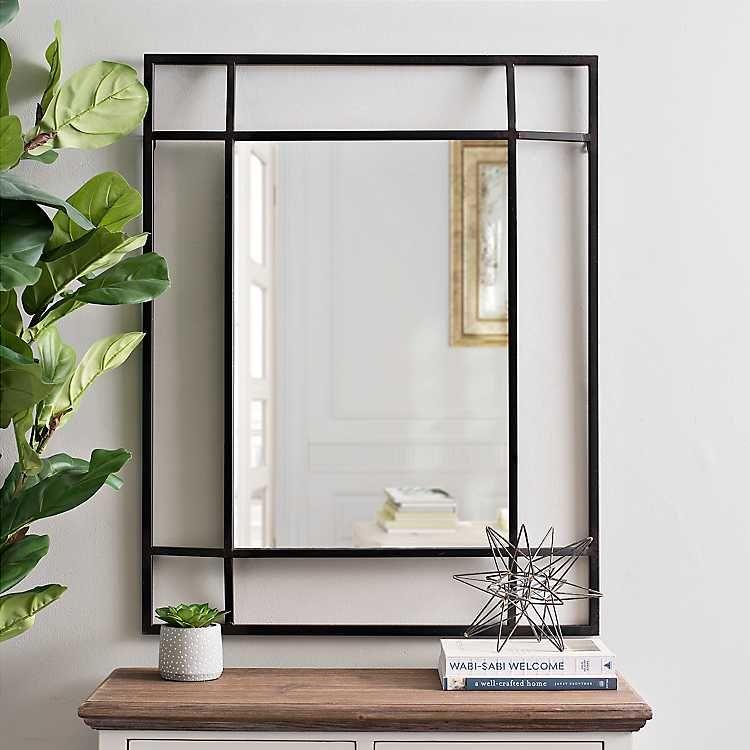 Black Metal Corner Squares Framed Wall Mirror Kirklands Black Mirror Frame Framed Mirror Wall Frames On Wall Mirror with black frame