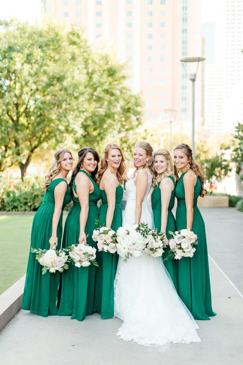 emerald wedding theme with tons of greenery | bridesmaid