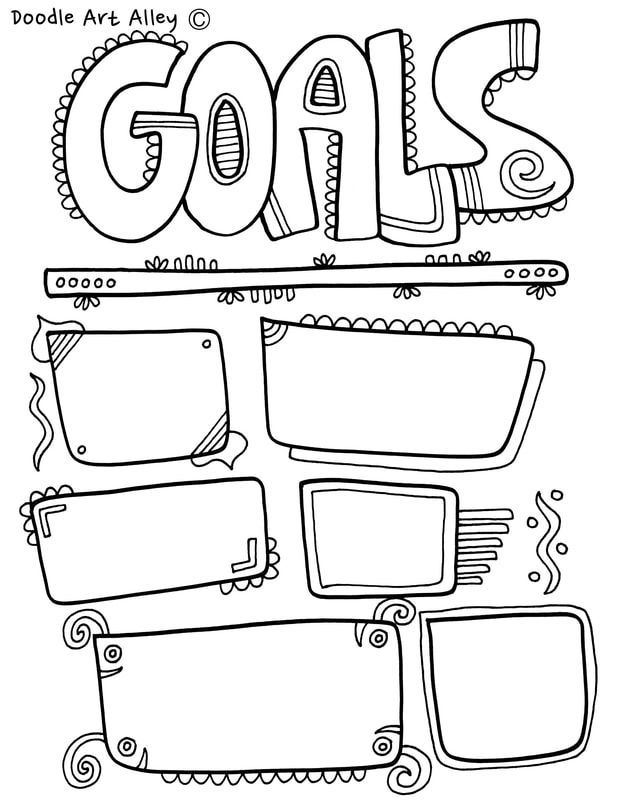 Goal Setting coloring pages and printables. Great for home