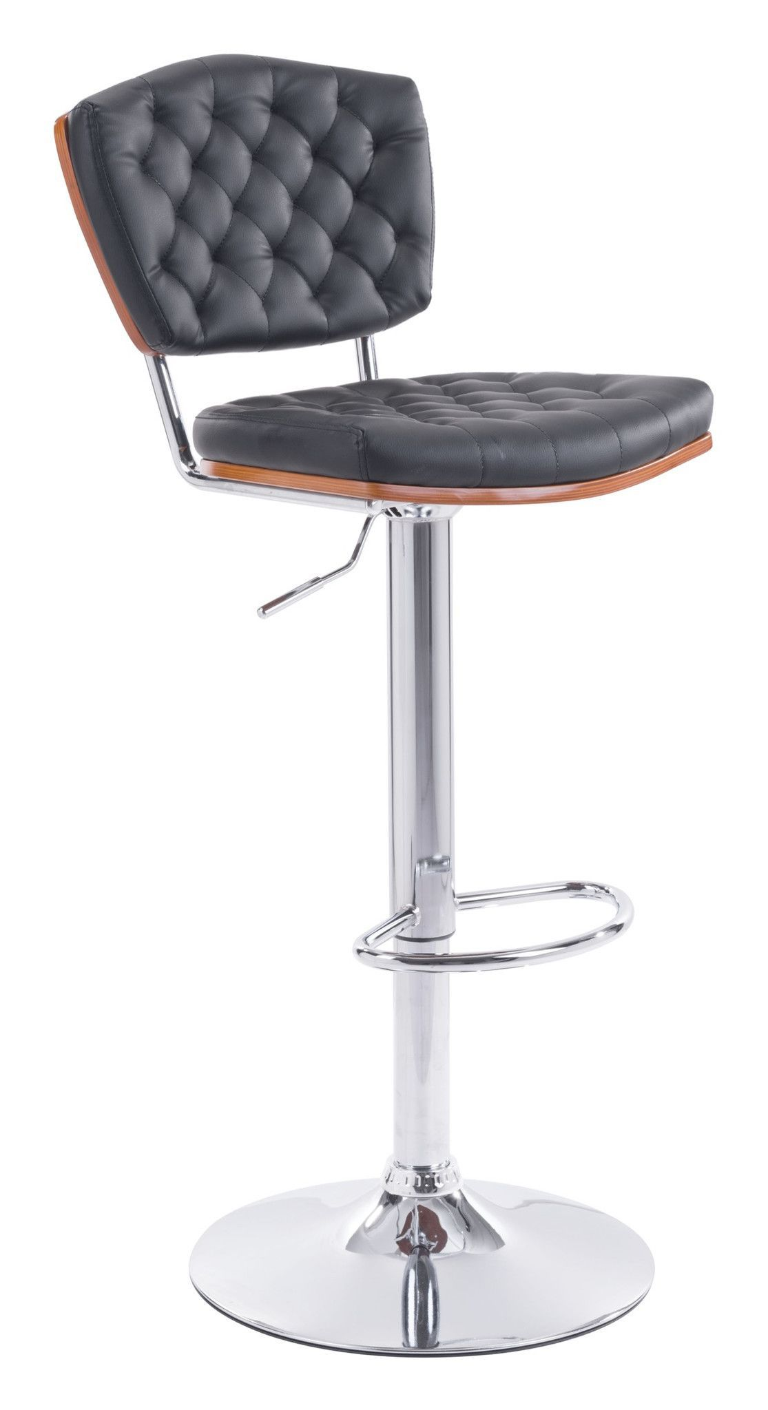 Tiger Bar Chair in Tufted Black Leatherette with Wood Accent on Chromed Steel
