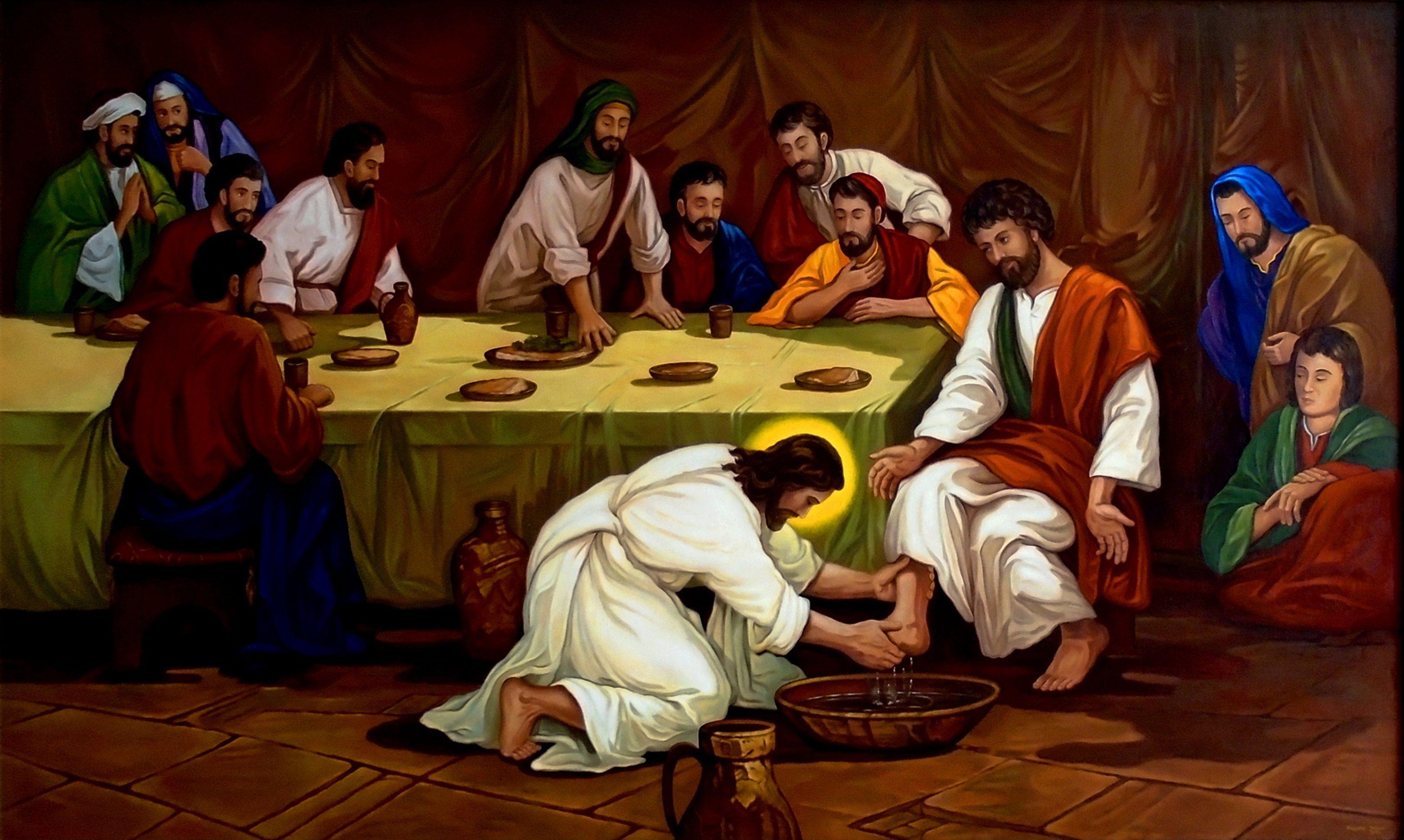 Ostatnia Wieczerza, Umywanie nóg Apostołom, 72cm x 120cm, Obraz ...