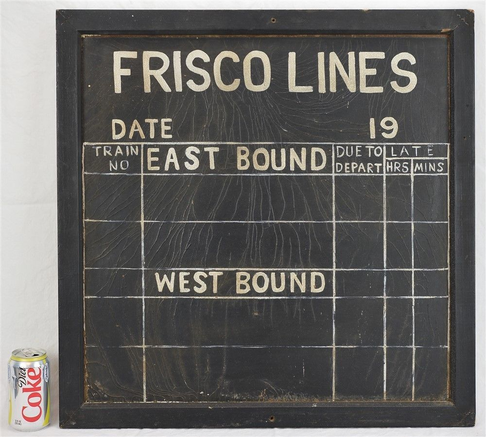 vintage chalk board railroad schedule sign frisco
