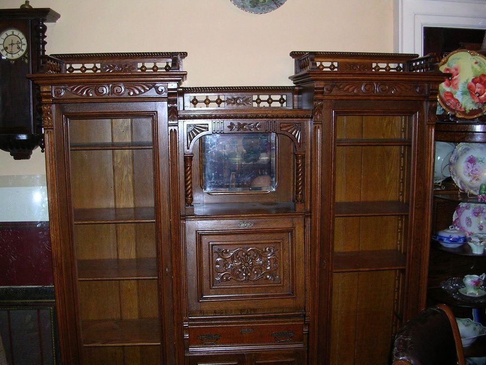 Fabulous antique double secretary desk side by side quartersawn oak tyler  desk - Fabulous Antique Double Secretary Desk Side By Side Quartersawn