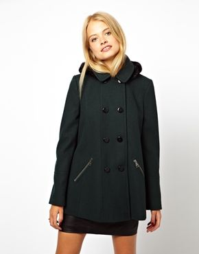 Image 1 of ASOS Hooded A-Line Duffle Coat With Fur Trim Hood ...