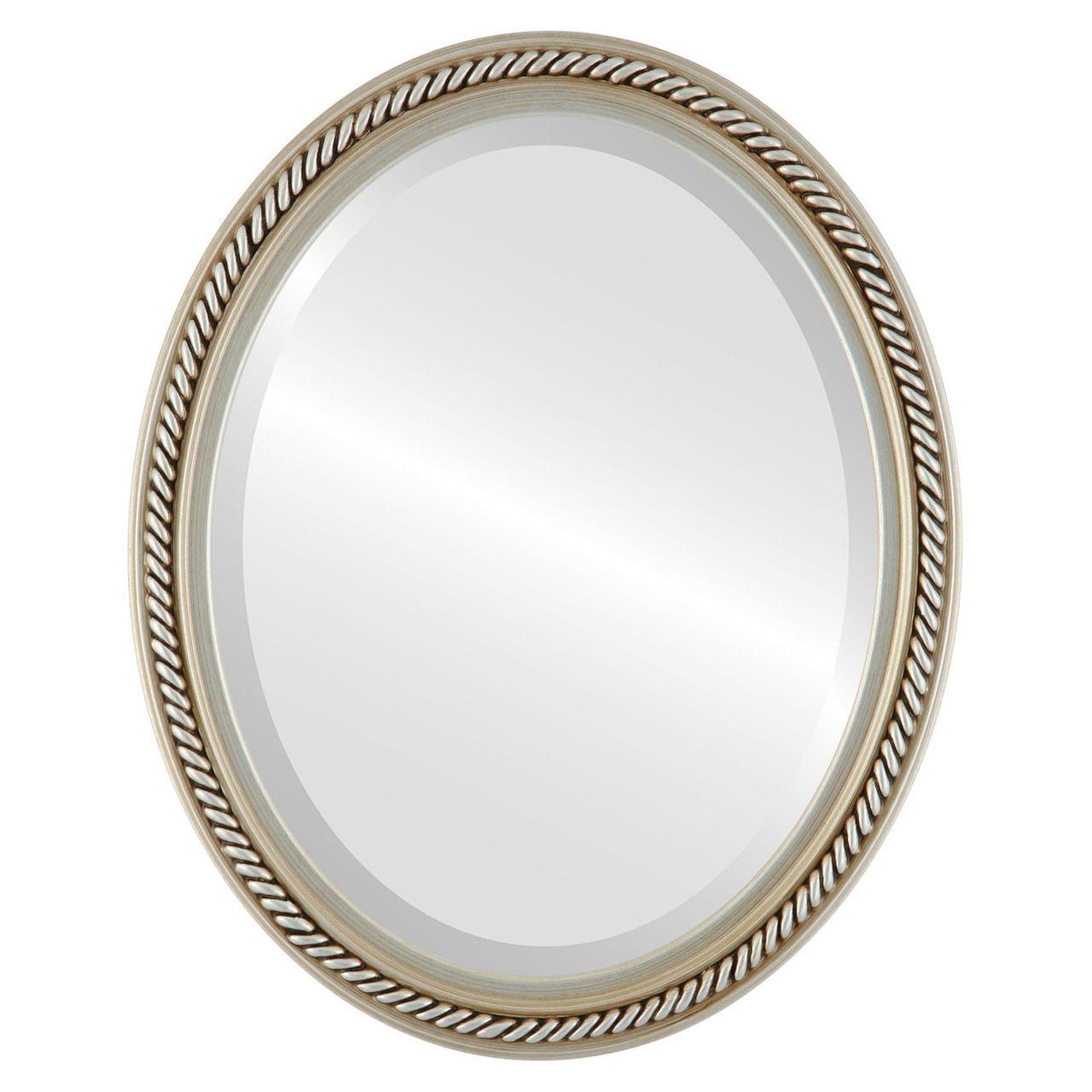 Beveled Mirror - Santa Fe Oval Frame - Silver | Oval framed mirrors ...