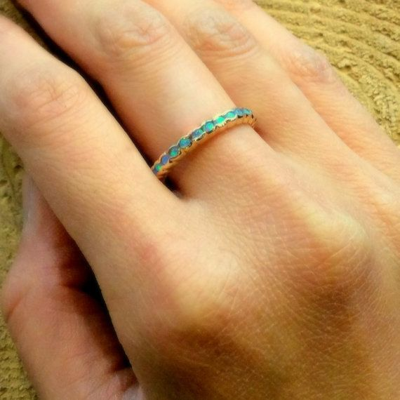 Eternity ring 14k yellow gold band thin band blue opal stones