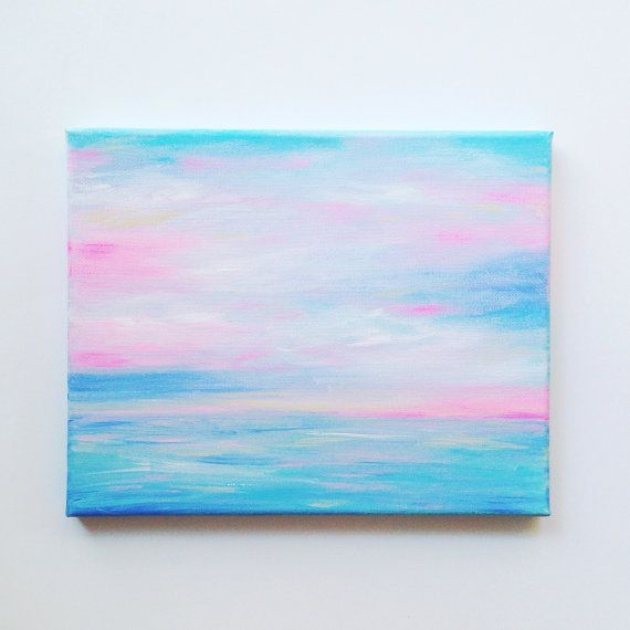 Long Island Wall Art ocean painting, beach painting, long island, pastel sunset, canvas