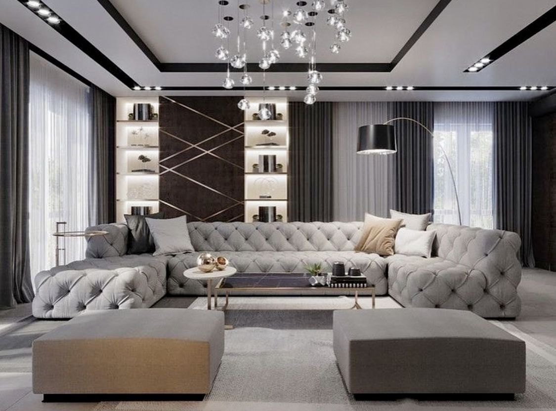 Luxury grey and white monochromatic living room decor with