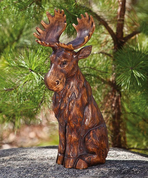 Sitting Moose Statuary   Cute For The Garden By The Back Door.