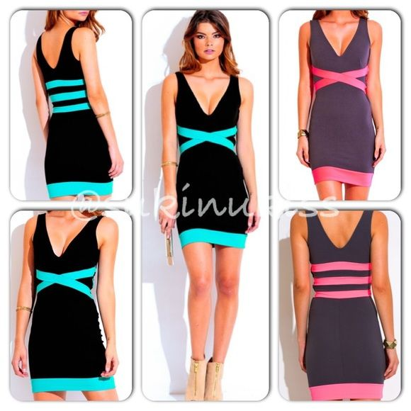 Bodycon Mini Dress Agua blue with black and Gray with Neon pink Deep V neck bodycon pencil dresses. Has side zipper. 95%polyester 5%Spandex. Made in usa.  The lenght is 32 inches. This is a Preorder so it may take 3-7 business days. Purchase in advance. If any questions I'll be glad to help. Thank You!!!  gray one only in Large. Dresses Mini