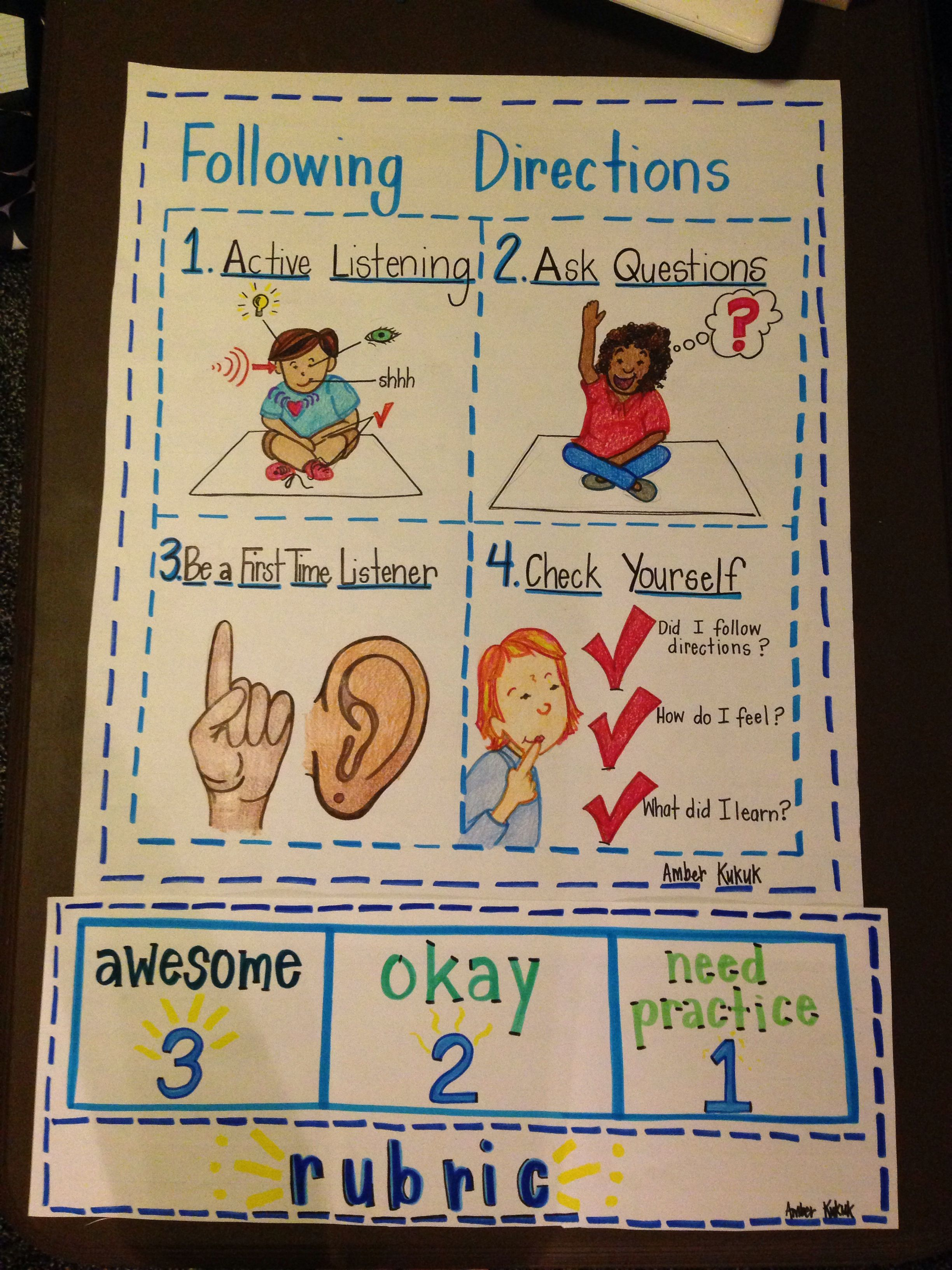 Following Directions Active Listening Character