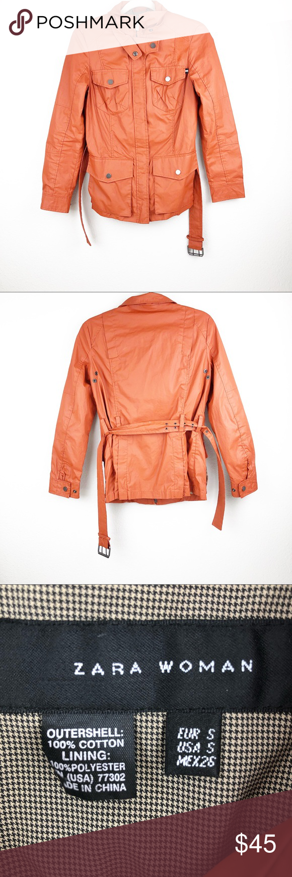 Zara Woman Orange Belted Jacket Size Small There is signs of wear 8229b46b5d327
