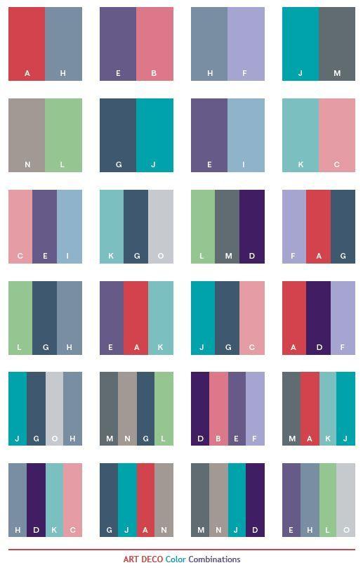 Color Schemes | Art Deco color schemes, color combinations, color palettes  for print .