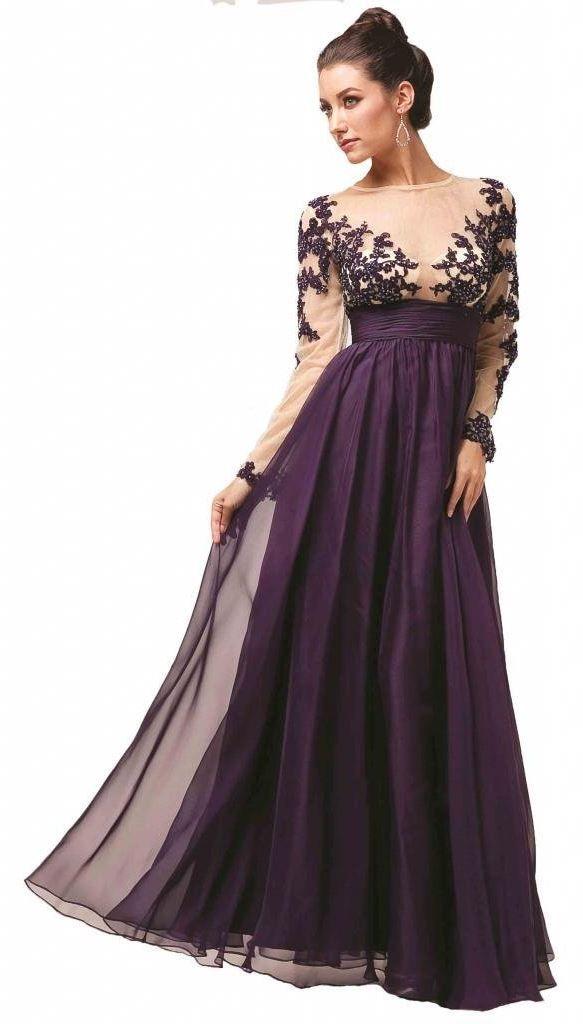 Long sleeve maxi evening dress