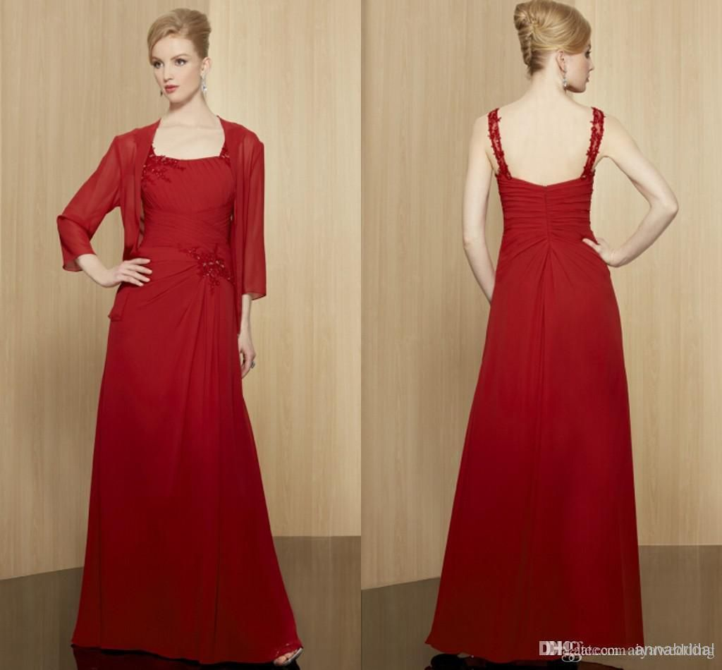 Red long mother of the bridegroom dresses with jacketbolero