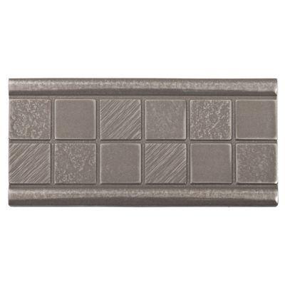 brushed nickel mosaic decorative insert | metallic