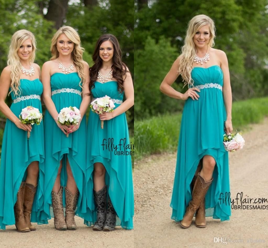 Cheap 2016 turquoise high low bridesmaid dresses cheap for Country dresses for wedding guest