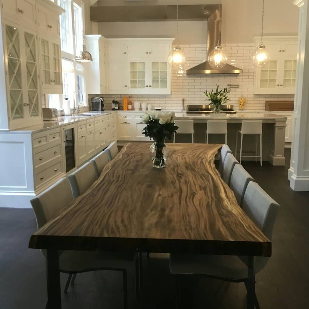 Custom Made Live Edge Single Slab Hand Crafted 8 Foot Dining