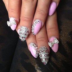 Pink Rhinestone Nail Art