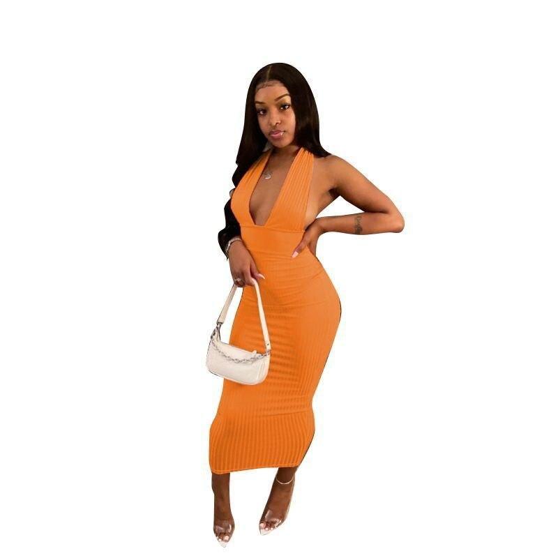 V-neck Ribbed Long Maxi Dresses - Orange / L / United States