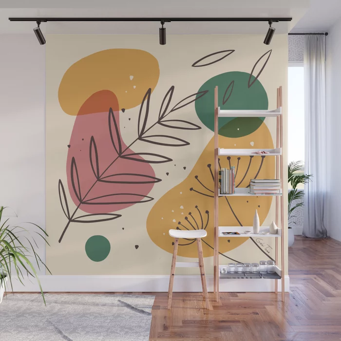 Colorful Abstract Shapes and Plants Design Wall Mu