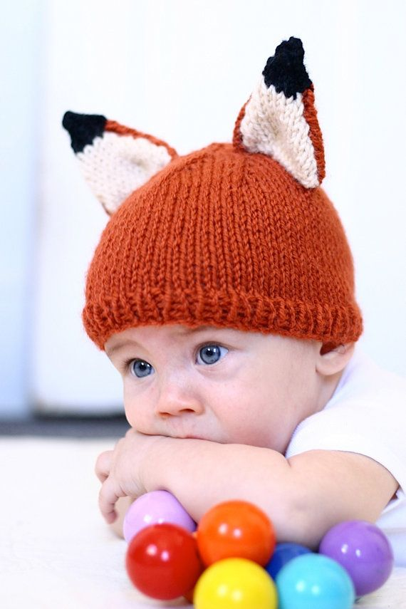 Knit Fox Hat Pattern Knitting PDF Instant download Kids Baby Knit ... 436eb25f4a5d