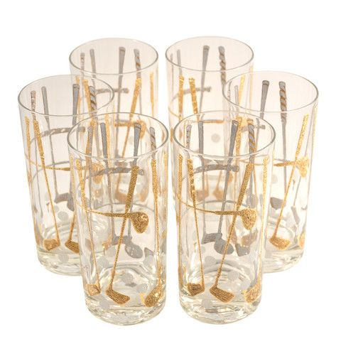 Mid Century Vintage Briard Golf Club Collins / Highball Cocktail Glasses. Available at The Hour and TheHourShop.com