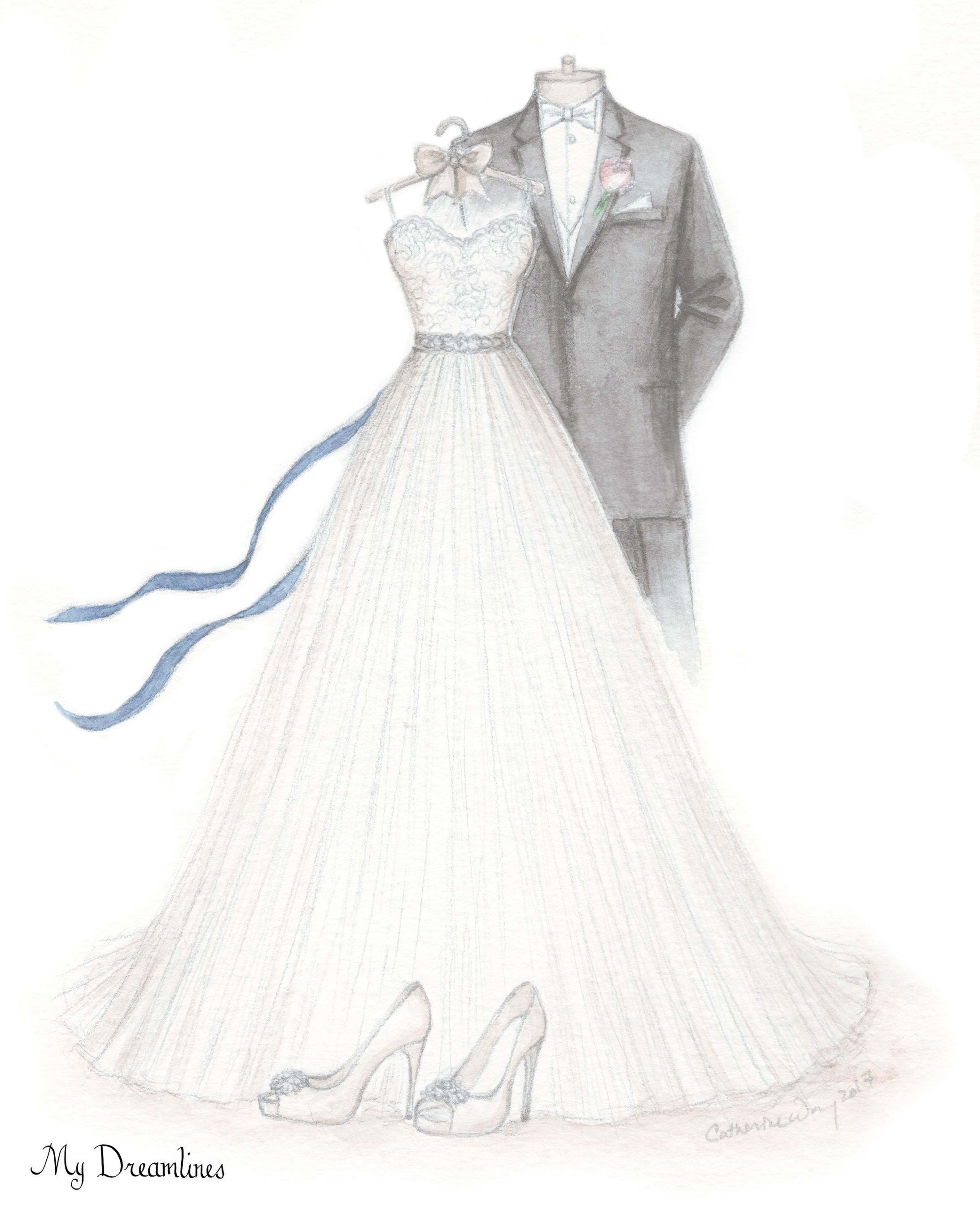A sketch of her wedding dress, suit and shoes. Wedding gift ...