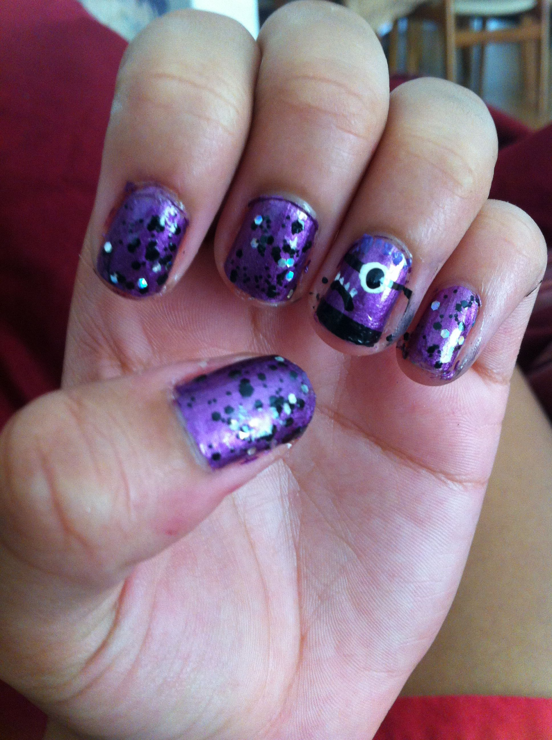 purple minion nail art nail art pinterest minion