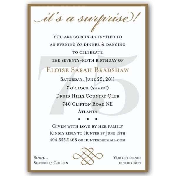 Classic 75th Birthday Gold Surprise Invitations 60th Birthday Invitations Surprise Birthday Invitations 75th Birthday Invitations