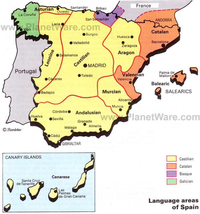 Map Of Language Areas Of Spain Planetware Spain Language Map