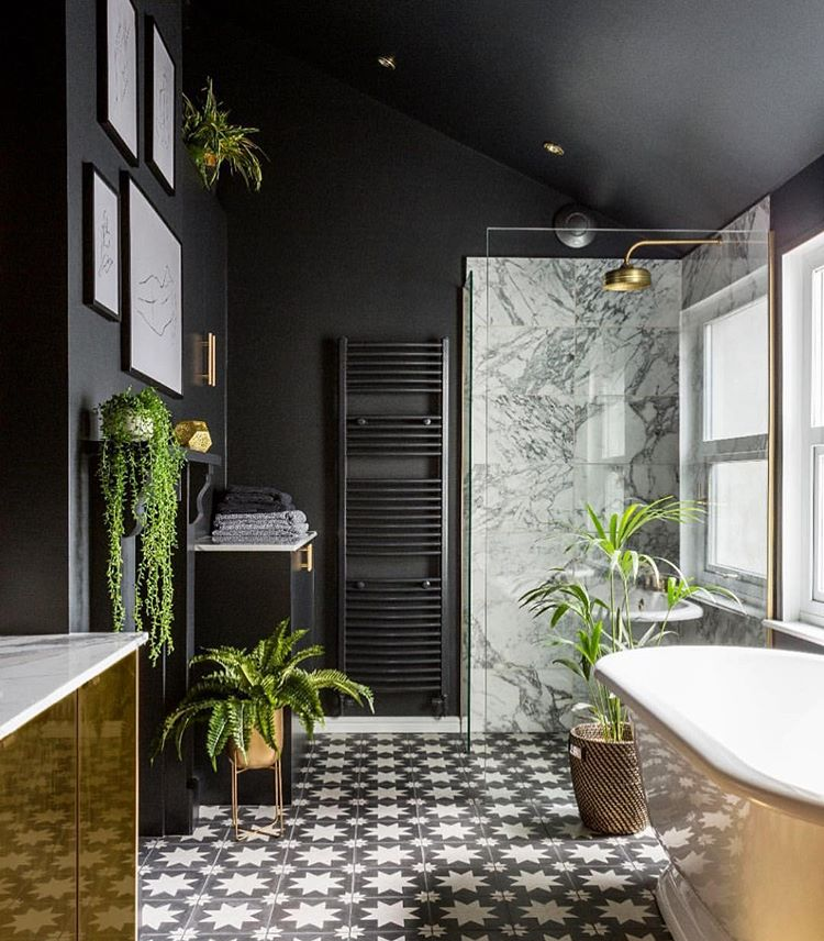 """Photo of Jane Rockett on Instagram: """"Dramatic dark bathroom with a Midas touch. ?? . The home of @gold_is_a_neutral I will be forever obsessed with the attention to detail in…"""""""
