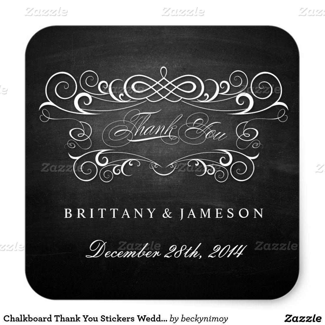 monogram wedding envelope seals sticker%0A Chalkboard Thank You Stickers Wedding Favors