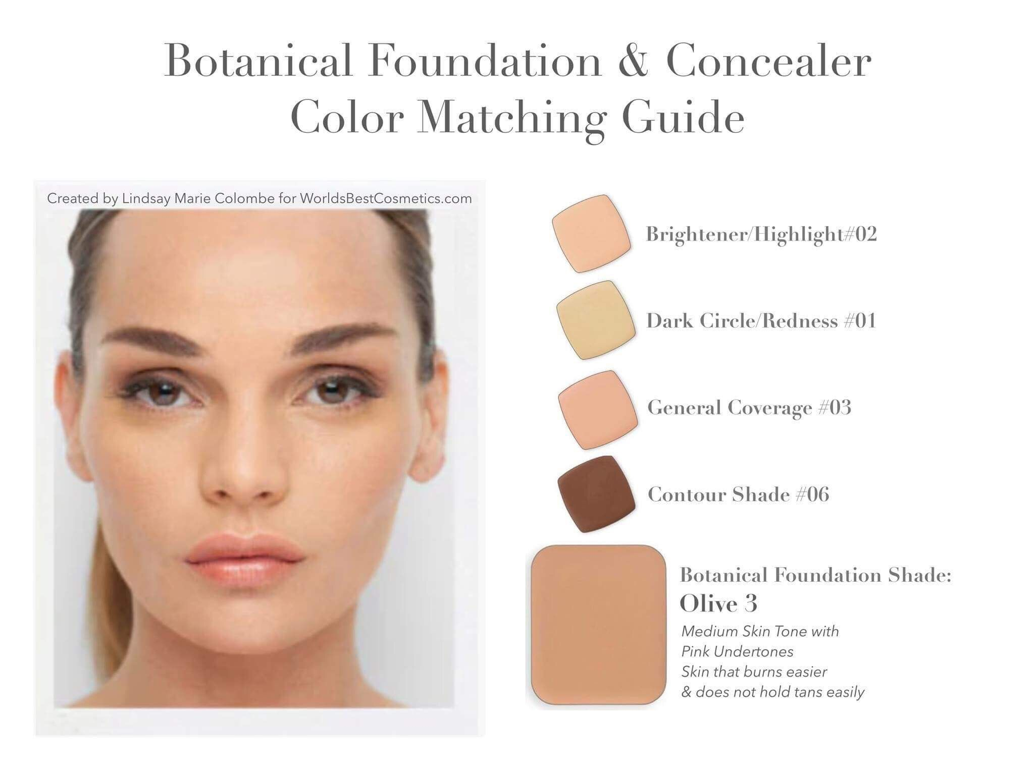 Olive 3 Botanical foundation and concealers https//www