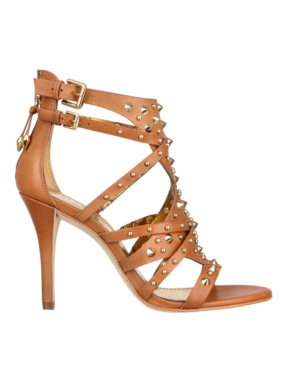 a7c01a6b9c GUESS Laidea Studded High-Heel Sandal, BROWN LEATHER (6) | Fashion ...