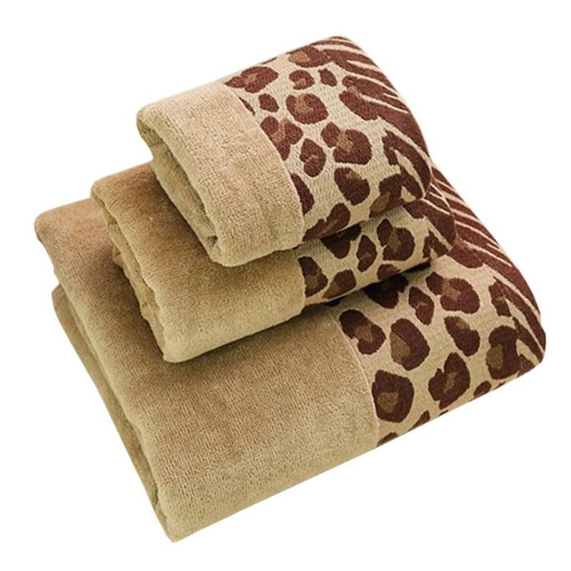 Soft Large Bath Towel Strong Absorbency All Cotton Leopard Print Brown Towel Large Bath Towel Bath Towels