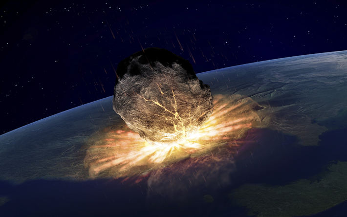 Download Wallpapers Huge Meteorite Apocalypse End Of The World Concepts Explosion Destruction Of The Earth Besthqwallpapers Com Fin Del Mundo Apocalipsis Asteroides Arte Apocalipsis