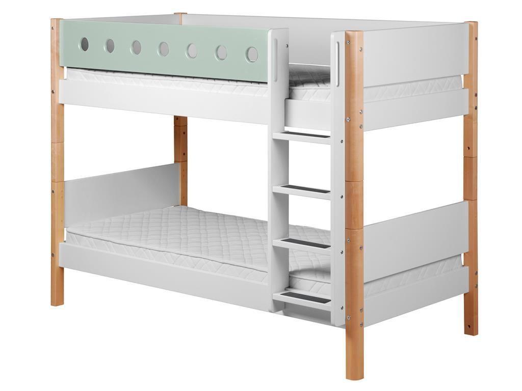 Flexa Etagenbett In L Form : Flexa white etagenbett mit gerader leiter weiß natur