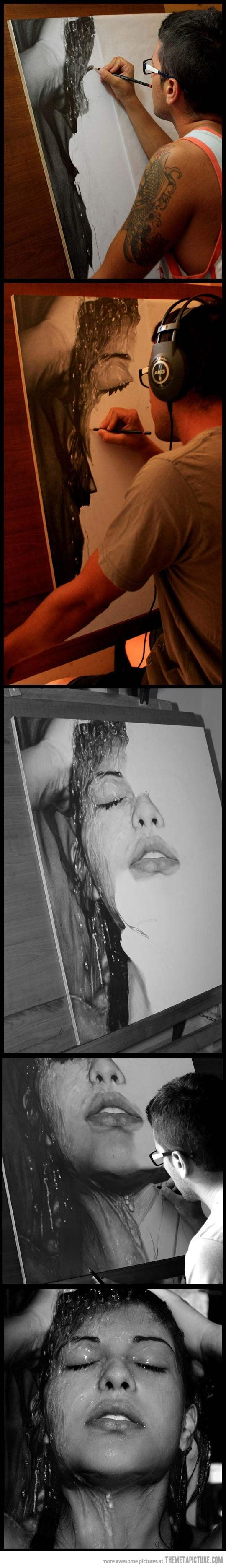 Realistic Drawings Photorealistic pencil drawing by Diego Fazio, Italy-based artist better known as DiegoKoi ABSOLUTELY AMAZING!! - Italy-based artist Diego Fazio, better known as DiegoKoi, is bound to blow you away with his incredible drawing skills. One of his newer pieces titled Sensazioni is an unbelievably hyperrealistic pencil drawing of a woman that has caused people to question the truth of its medium. Is it really done in pencil? The