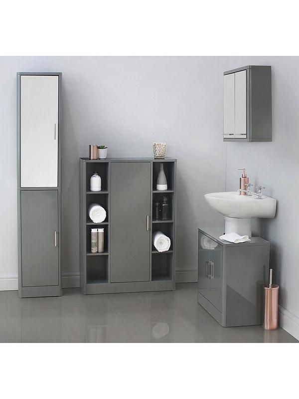 Luna Hi Gloss Bathroom Console Unit Grey Bathroom Storage Units Bathroom Tallboy Bathroom Console