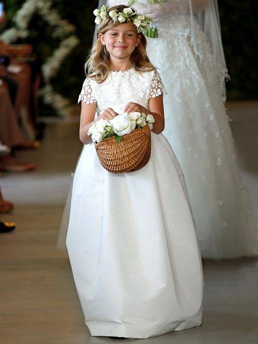 vestido daminha seda marfim