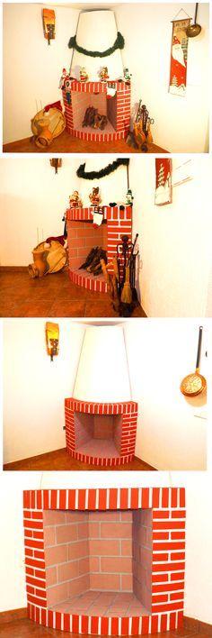 Manualidades para Navidad Chimenea decorativa de cartón Pinterest