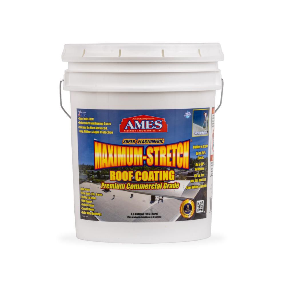 Ames 5 Gal White Maximum Stretch Rubber And Acrylic Reflective Roof Coating Mss5 The Home Depot Roof Coating Rubber Roof Coating Membrane Roof